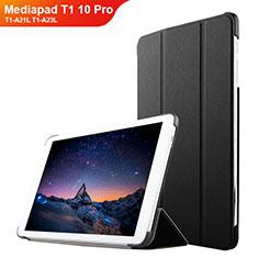 Coque Clapet Portefeuille Livre Cuir L02 pour Huawei Mediapad T1 10 Pro T1-A21L T1-A23L Noir