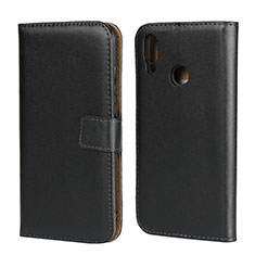 Coque Clapet Portefeuille Livre Cuir L02 pour Huawei P Smart (2019) Noir