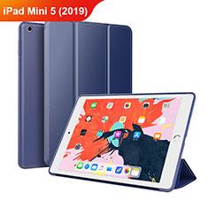 Coque Clapet Portefeuille Livre Cuir L03 pour Apple iPad Mini 5 (2019) Bleu