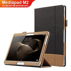 Coque Clapet Portefeuille Livre Cuir L03 pour Huawei MediaPad M2 10.0 M2-A01 M2-A01W M2-A01L Noir
