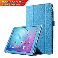 Coque Clapet Portefeuille Livre Cuir L03 pour Huawei MediaPad M2 10.1 FDR-A03L FDR-A01W Bleu Ciel