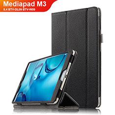 Coque Clapet Portefeuille Livre Cuir L03 pour Huawei Mediapad M3 8.4 BTV-DL09 BTV-W09 Noir