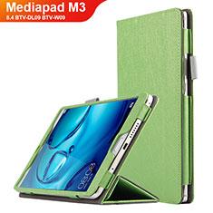 Coque Clapet Portefeuille Livre Cuir L04 pour Huawei Mediapad M3 8.4 BTV-DL09 BTV-W09 Vert