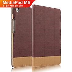 Coque Clapet Portefeuille Livre Cuir L04 pour Huawei MediaPad M5 8.4 SHT-AL09 SHT-W09 Marron