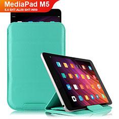 Coque Clapet Portefeuille Livre Cuir L06 pour Huawei MediaPad M5 8.4 SHT-AL09 SHT-W09 Cyan