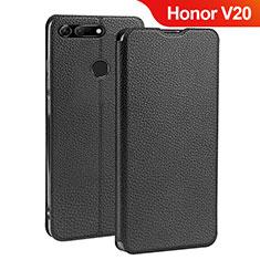 Coque Clapet Portefeuille Livre Cuir pour Huawei Honor V20 Noir
