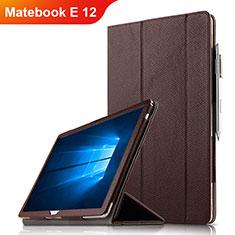 Coque Clapet Portefeuille Livre Cuir pour Huawei Matebook E 12 Marron