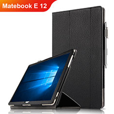 Coque Clapet Portefeuille Livre Cuir pour Huawei Matebook E 12 Noir