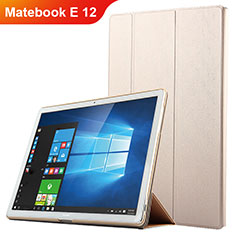 Coque Clapet Portefeuille Livre Cuir pour Huawei Matebook E 12 Or
