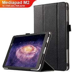 Coque Clapet Portefeuille Livre Cuir pour Huawei MediaPad M2 10.1 FDR-A03L FDR-A01W Noir
