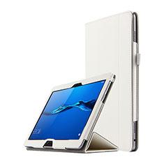 Coque Clapet Portefeuille Livre Cuir pour Huawei MediaPad M3 Lite 10.1 BAH-W09 Blanc