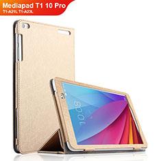Coque Clapet Portefeuille Livre Cuir pour Huawei Mediapad T1 10 Pro T1-A21L T1-A23L Or