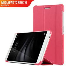 Coque Clapet Portefeuille Livre Cuir R01 pour Huawei MediaPad T2 Pro 7.0 PLE-703L Rose Rouge