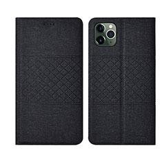 Coque Clapet Portefeuille Livre Tissu H01 pour Apple iPhone 11 Pro Max Noir