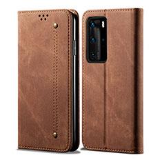 Coque Clapet Portefeuille Livre Tissu H01 pour Huawei P40 Pro Marron