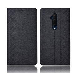 Coque Clapet Portefeuille Livre Tissu H01 pour OnePlus 7T Pro Noir