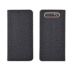 Coque Clapet Portefeuille Livre Tissu H01 pour Samsung Galaxy A80 Noir