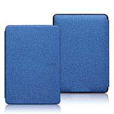 Coque Clapet Portefeuille Livre Tissu L01 pour Amazon Kindle 6 inch Bleu