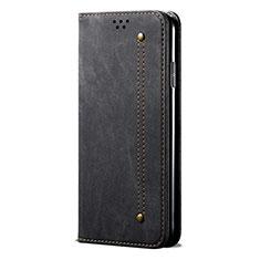 Coque Clapet Portefeuille Livre Tissu L01 pour Huawei P Smart (2020) Noir