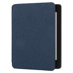 Coque Clapet Portefeuille Livre Tissu pour Amazon Kindle 6 inch Bleu