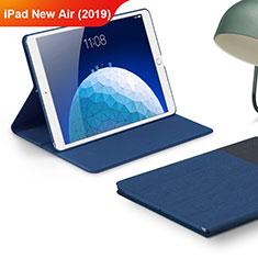 Coque Clapet Portefeuille Livre Tissu pour Apple iPad Air 3 Bleu