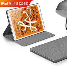 Coque Clapet Portefeuille Livre Tissu pour Apple iPad Mini 5 (2019) Gris