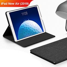 Coque Clapet Portefeuille Livre Tissu pour Apple iPad New Air (2019) 10.5 Noir