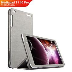 Coque Clapet Portefeuille Livre Tissu pour Huawei Mediapad T1 10 Pro T1-A21L T1-A23L Gris