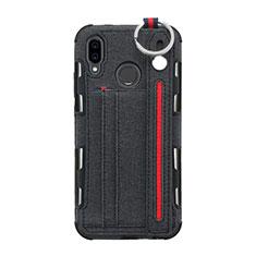 Coque Clapet Portefeuille Livre Tissu pour Huawei P20 Lite Noir