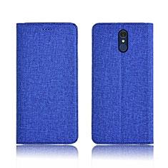 Coque Clapet Portefeuille Livre Tissu pour LG Q7 Bleu