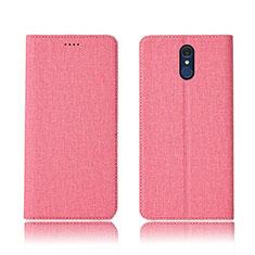 Coque Clapet Portefeuille Livre Tissu pour LG Q7 Rose