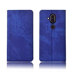 Coque Clapet Portefeuille Livre Tissu pour Nokia 7.1 Plus Bleu