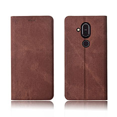 Coque Clapet Portefeuille Livre Tissu pour Nokia 7.1 Plus Marron