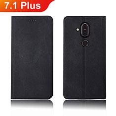 Coque Clapet Portefeuille Livre Tissu pour Nokia 7.1 Plus Noir