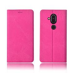 Coque Clapet Portefeuille Livre Tissu pour Nokia 7.1 Plus Rose Rouge