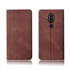 Coque Clapet Portefeuille Livre Tissu pour Nokia X7 Marron