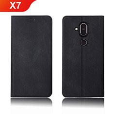 Coque Clapet Portefeuille Livre Tissu pour Nokia X7 Noir