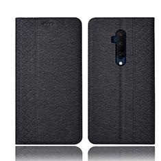 Coque Clapet Portefeuille Livre Tissu pour OnePlus 7T Pro Noir