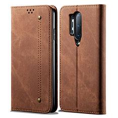 Coque Clapet Portefeuille Livre Tissu pour OnePlus 8 Pro Marron