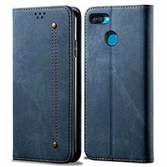 Coque Clapet Portefeuille Livre Tissu pour Oppo A12 Bleu