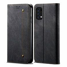 Coque Clapet Portefeuille Livre Tissu pour Oppo Reno4 4G Noir