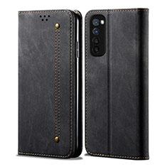 Coque Clapet Portefeuille Livre Tissu pour Oppo Reno4 Pro 4G Noir