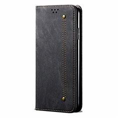 Coque Clapet Portefeuille Livre Tissu pour Realme 5 Pro Noir
