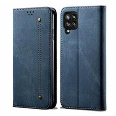 Coque Clapet Portefeuille Livre Tissu pour Samsung Galaxy A42 5G Bleu