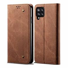 Coque Clapet Portefeuille Livre Tissu pour Samsung Galaxy A42 5G Marron