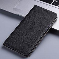 Coque Clapet Portefeuille Livre Tissu pour Samsung Galaxy A81 Noir