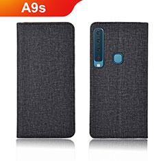 Coque Clapet Portefeuille Livre Tissu pour Samsung Galaxy A9s Noir