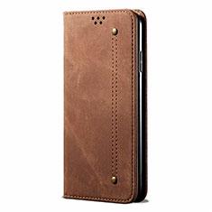 Coque Clapet Portefeuille Livre Tissu pour Samsung Galaxy M21s Marron