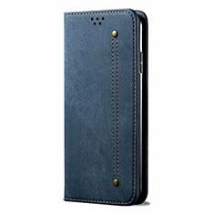 Coque Clapet Portefeuille Livre Tissu pour Samsung Galaxy M31 Bleu