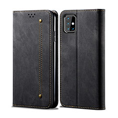 Coque Clapet Portefeuille Livre Tissu pour Samsung Galaxy M31s Noir
